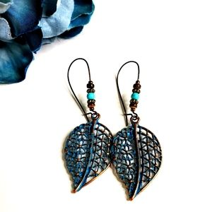 NEW Rustic Blue Leaf Beaded Dangle Earrings